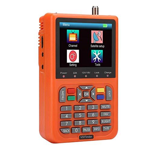 Satellite Finder Signal Meter 3.5 Inch LCD Color Screen, ABS DVB Receiver Sat Detector Digital Satellite Signal Finder, Orange, 100-240V(US)