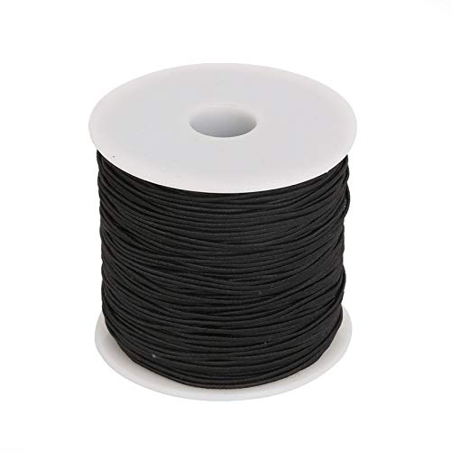 RuiLing 100m/Roll 1mm Round Elastic Cord Jewelry Making Supply DIY Bracelet Beading Wire Stretch Nylon Thread/String/Rope Black