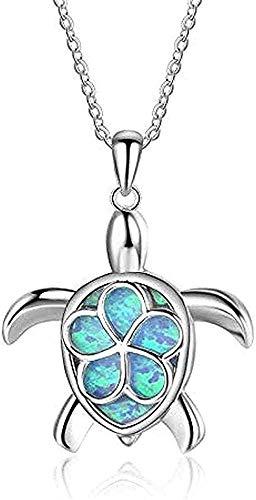 DUEJJH Co.,ltd Collar Collar Collar Color Plata Cristal de ópalo Azul Tortuga Marina Cadena Collares Pendientes para Mujeres Boda Animal Ocean Beach Joyería para Mujeres Hombres Regalos