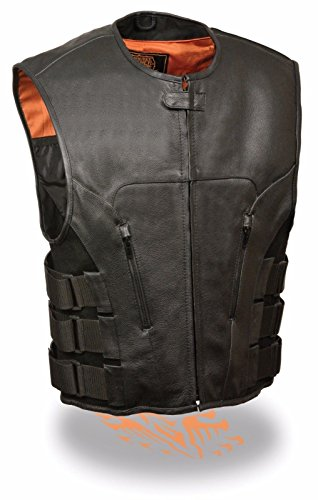 Milwaukee MEN'S MOTORCYCLE SWAT STYLE VEST UPDATED TACTICAL LEATHER VEST BUTTER SOFT NEW (XL Regular)