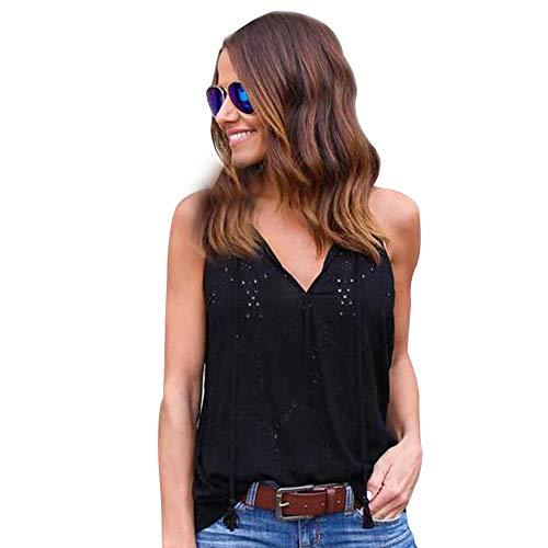 Aiserkly Damen Pullover festes V-Ausschnitt T-Shirt ärmellose beiläufige Bluse Tops Schwarz S
