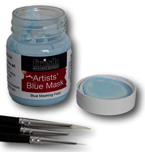 Frisk Set of Three Masking Fluid Brushes with 60ml Blue Masking Fluid