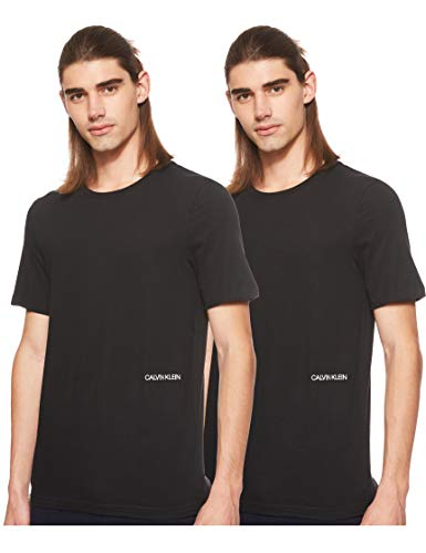 Calvin Klein S/S Crew Neck 2pk Maglietta, Nero (Black 001), S Uomo