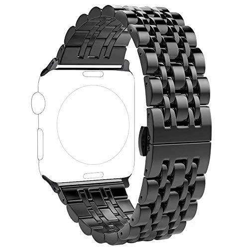 PUGO TOP - Cinturino compatibile con Apple Watch 42 mm 44 mm, 316L in acciaio inox con design classico a 7 lame e chiusura a farfalla, per iWatch SE Series 6 5 4 3 2 1 (42 mm/44 mm, nero)