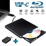 Tokenhigh Externe Graveur Lecteur CD DVD Blu Ray 3D, USB 3.0 Type C Portable Ultra Slim de DVD CD-RW Bluray Lecteur de CD/DVD pour Mac OS, Windows 7 8 10, PC, iMac