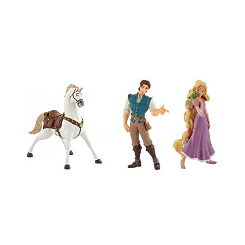 Disney Raiponce Rapunzel Bullyland Set 3 Figurine Pascal Flynn Rider Maximus