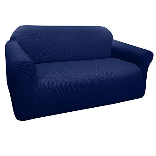 Granbest Funda de Sofá Elástica Súper Gruesa con Diseño Elegante Universal Funda Sofá 2 Plaza Antideslizante Protector Cubierta de Muebles(2 Plaza, Azul Marino) ✅
