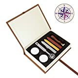 Compass Wax Seal Kit, Yoption Vintage Sealing Wax Sticks with Wicks Gift Box Set for Embellishment Cards, Envelopes, Wedding Invitations, Wine Packages, Gift Wrapping (Compass Seal Stamp Kit)