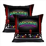 HHTX Juego de Fundas de Almohada con Dos Fundas de Cojines Decorativos Vintage para máquinas recreativas, joysticks, Botones para Dos Personas, 16 x 16 Pulgadas, Funda de Almohada, hogar, Coche,