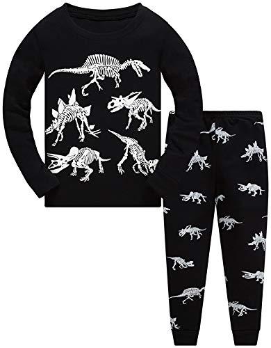 Jungen Zweiteiliger Schlafanzug Im Dunkeln leuchten Dinosaurier Langarm Pyjamas Kinder Schlafanzug Winter Nachtwäsche Weihnachten Pyjama Baby Junge Pyjama 128 (Dark Dinosaur-6243 7T)