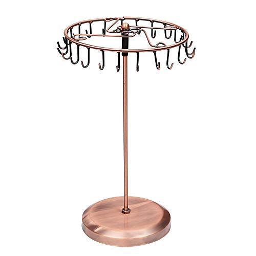 TOOGOO Soporte de JoyeríA 23 Ganchos Caja de Almacenamiento de Collar Giratorio para Colgantes Pulseras Pendientes Anillos Soporte de ExhibicióN de Reloj Cobre