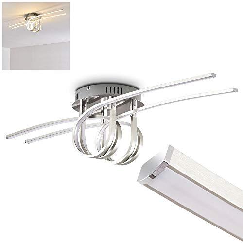 Plafonnier LED Casale à 2 bandeaux lumineux enroulés - Lampe de salon à effet looping - chambre à coucher - couloir - plafonnier en métal chromé - 3000 Kelvin - 1600 lumen