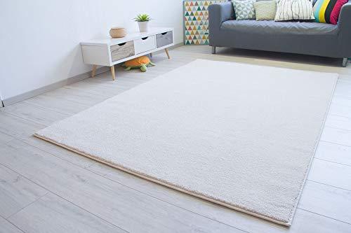 Steffensmeier Kurzflor Teppich Bovino Wohnzimmerteppich modern, strapazierfähig und pflegeleicht, Creme, Größe: 66x130 cm