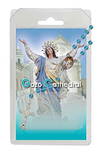Rosario de la Virgen María de la catedral de Goz, de semicristal aguamarina con oración en inglés