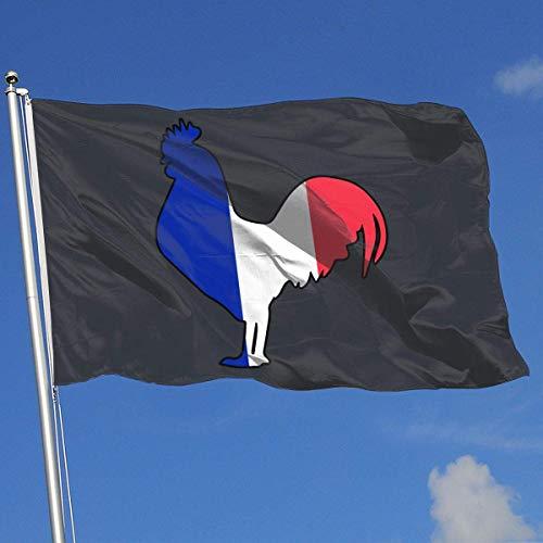 wallxxj Fahne Grafik Frankreich Flagge Hahn Haus Flagge Benutzerdefinierte 90X150Cm Begrüßungssaison Home Dekorative Schöne Standard Mode Funny Yard Banner Hinterhof Outdoor Gedruckte Dem