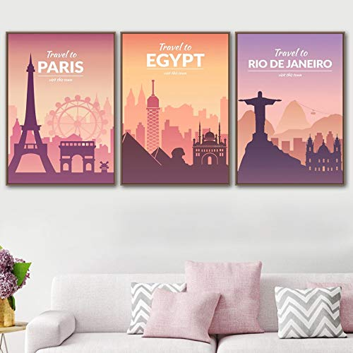 Cuadro en lienzo HD Pars Nueva York Roma Travel Landmark Building Cartel retro Arte de la pared Pintura en lienzo Carteles e impresiones nrdicos Pared decorativa Cartel de arte retro para el hogar