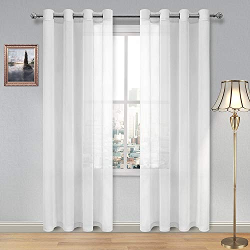DWCN White Sheer Curtains Linen Look Grommet Long Curtain for Bedroom Voile Sheer Drapes Set of 2 Panels, 52 x 95 Inch Length