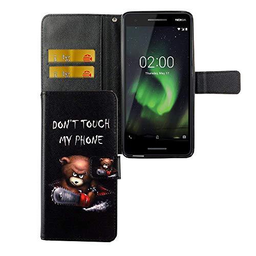 König Design Handyhülle Kompatibel mit Nokia 2.1 Handytasche Schutzhülle Tasche Flip Hülle mit Kreditkartenfächern - Don't Touch My Phone Bär mit Kettensäge