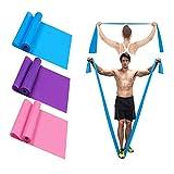 RUNYUE Bande Elastiche Fitness(3 Pezzi), Bande Elastici Fitness con 3 Livelli di Resistenza per Pilates, Yoga, Allenamento di Forza, Fisioterapia e Riabilitazione, Ideali per Uomini e Donne