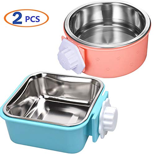 Hamiledyi Crate Dog Bowl,Removable Stainless Steel Pet Cage Bowl Food Water Feeder Bows Coop Cup with Bolt Holder for Cat,Puppy,Rabbite Birds and Other Small Pets(2 Pack) Basic Bowls