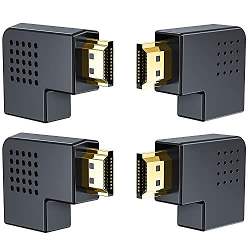 HDMI L字型変換アダプタ 4個セットHDMIオス to HDMIメス90度+270度左右変換コネクタ 金メッキ中継 アダプタ wuernine 高画質 テレワーク用 パソコン 4KフルHD テレビ DVD モニターなど対応