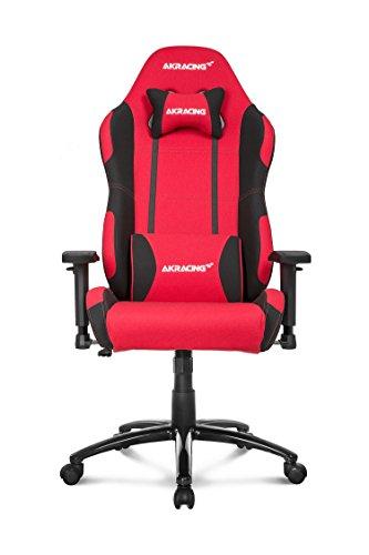 AKRACING Core EX Gaming Stuhl mit 5 Jahren Herstellergarantie für PC/PS4/XBOX/Nintendo, Schreibtischstuhl mit Kissen, Stoffbezug - Rot/Schwarz