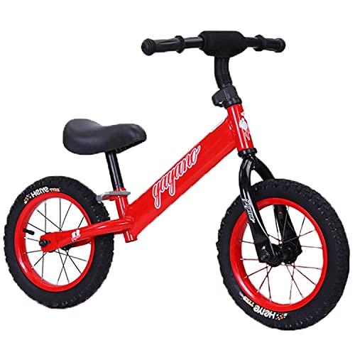 Bicicleta De Equilibrio para Niños De Acero Altos De Alta Carbono, Bicicleta De Entrenamiento para Bebés De 2 A 6 Años, Caminante, Bicicleta De Equilibrio De Pedal (Ruedas Inflables),Rojo
