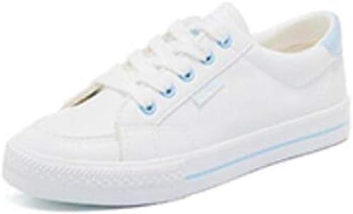 LF zapatos blancos de otoño zapatos Deportivos de Cuero zapatos Planos de Estudiante (Color   azul, Talla   EU36 UK3.5 CN35)