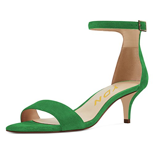 YDN Women Thin Mid Heels Sandals Buckle up Kitten Pumps Ankle Strap Summer Shoes Green 15