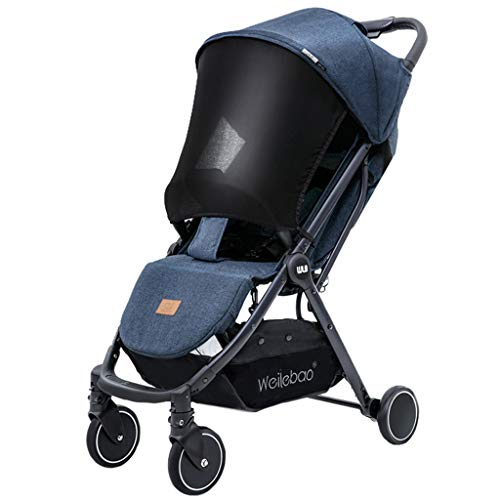JINGQI Aleación de Aluminio 2 en 1 Cochecito de bebé portátil Carro de bebé del Cochecito Plegable Ajustable del Cochecito de bebé del Cochecito de niño de Alta Ver Viaje Cochecito,Azul