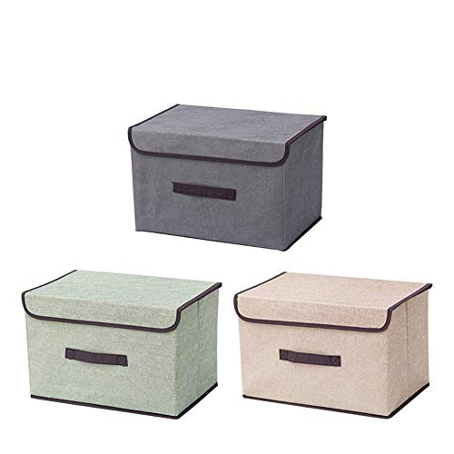 NAFE Juego de 3 Cajas de Almacenamiento - Cubos de Tela con Tapa práctica - Ideal como Caja de Almacenamiento de Ropa o Estante - Color, Acción de Gracias, Regalo para la Familia S