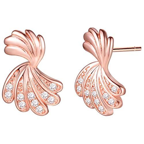 Daesar Earrings Studs For Girls, Rose Gold Plated Earrings Studs Feather Cubic Zirconia White Stud Earrings Rose Gold