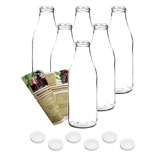 gouveo 6er Set Saftflasche 1.000 ml inkl. Verschluss to 48 Weiß, Likörflaschen, Schnapsflaschen, Essigflaschen, Ölflaschen