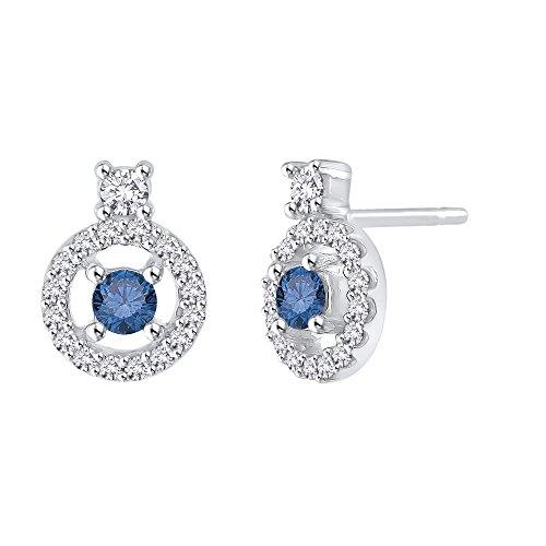 Diamond Halo pendientes con azul centro de diamante en oro de 14K (1/2quilates) (color GH, claridad i2-i3)