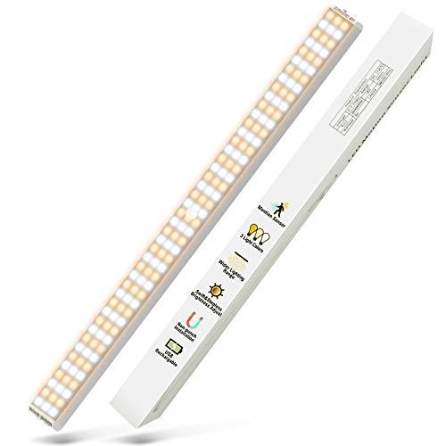luz led adhesiva luz armario - luces led con sensor movimiento 132 led cocina bajo mueble luz nocturna a pilas recargable iluminacion sin cables para cocina lamparas usb portatil (1 Unidades)