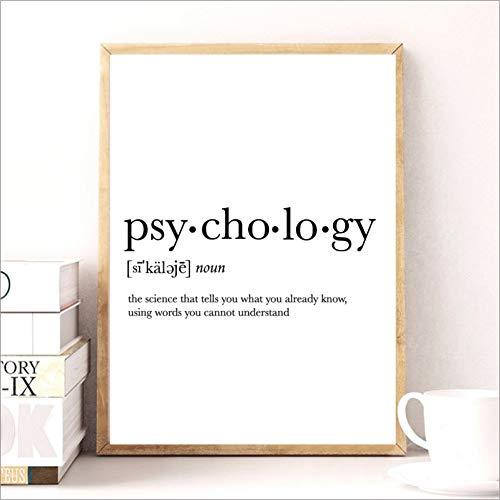 QAZEDC Kunstdruck Leinwanddekoration Malerei Geschenke drucken lustige Definition Poster, Psychologie Zitat Leinwand Malerei College Wohnheim Zimmer Wandkunst minimalistischen Poster-70x100cm