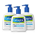 Face Wash by Cetaphil, Daily Facial Cleanser for Combination to Oily Sensitive Skin, 8 oz Pack of 3, Gentle Foaming Deep Clean Without Stripping