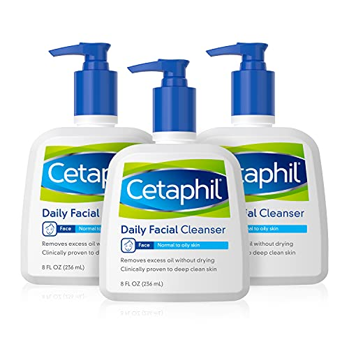 Cetaphil Face Wash, Daily Face Cleanser for Normal to Oily Skin, Basic, 8 Ounce (Pack of 3)