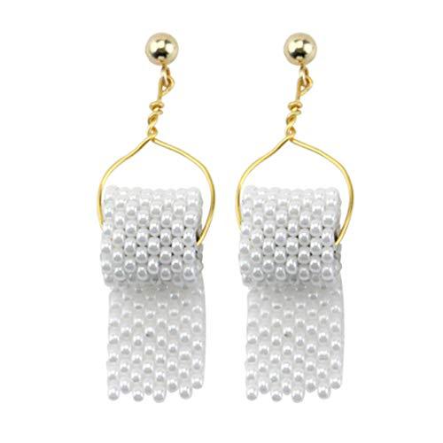 EXCEART 1 Paar Wc Papier Rolle Ohrringe Papier Handtuch Baumeln Erklärung Ohrringe Hypoallergen Lustige Ohrringe für Frauen Mädchen (Weiß)