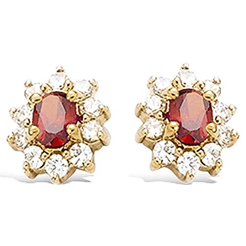 Les Tresors De Lily [R4166] - Gold plated earrings 'Victorina' red white gold - 10x8 mm.