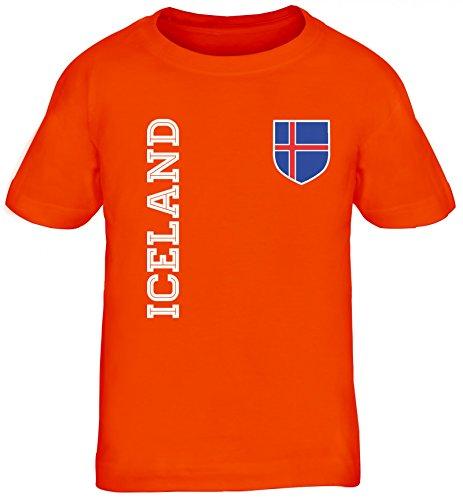 Island Fußball WM Fanshirt Gruppen Kinder T-Shirt Rundhals Mädchen Jungen Fan Trikot Iceland, Größe: 110/116,orange