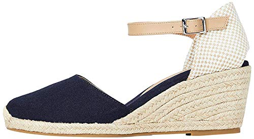Marchio Amazon - find. Mid-Wedge Close Toe Canvas Espadrille Sandalo Espadrillas con Zeppa, Blu (Navy), 39 EU