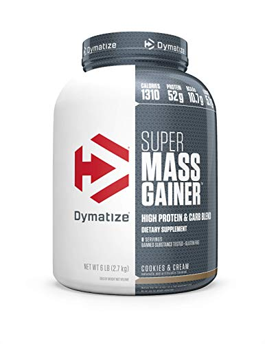 Dymatize Super Mass Gainer Protein Powder, 1310 Calories & 52g Protein, 10.7g BCAAs, Mixes Easily, Tastes Delicious, Cookies & Cream, 6 Pound