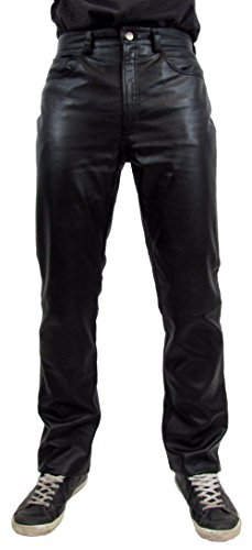 Shamzee Lederhose Leder Jeans Hose für Damen und Herren aus Lammnappa Aniline Leder in Braun Farbe (38 W inch, Schwarz)