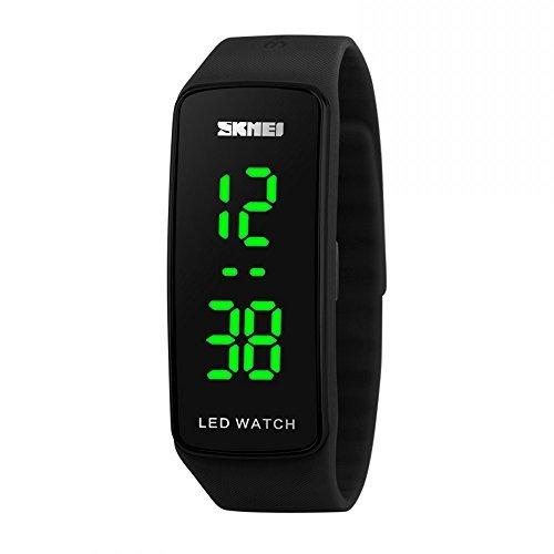 SKMEI Reloj de pulsera de cuarzo para mujer, pantalla digital, color negro