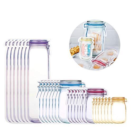 RayE 28pcs Mason Jar Zip Beutel, Lebensmittel Aufbewahrungsbeutel Wiederverwendbare, Lebensmittelbeutel Einmachglas, Mason Bag Versiegelt zum Backen von Keksen Snacks Süßigkeiten