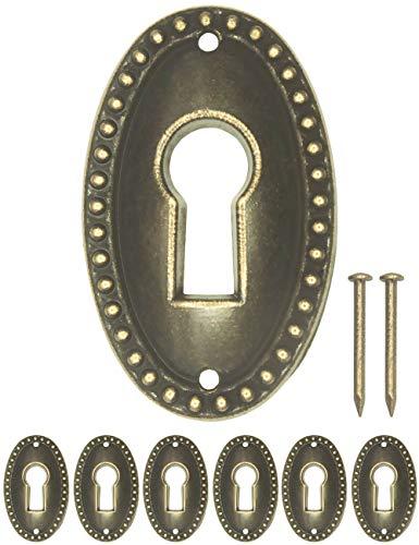 FUXXER® - 6x Antike Schlüssel-Schilder, Schloss-Rosetten, Schloss-Beschläge, Abdeckung für Schlösser, Schlüssel-Loch, Vintage Messing Design, 6er Set inklusive Nägel, 37 mm x 23 mm, bronze