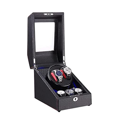 Devanadera de Reloj automática 3 + 2 Caja de exhibición de Almacenamiento LED con Motor silencioso para Hombres y Mujeres Regalo Adaptador de CA y batería