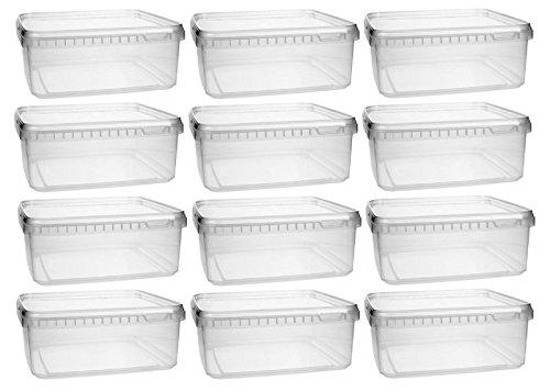 mikken Kunststoffdose 12x 1,15 Liter Plastikdose mit Deckel, BPA-frei, lebensmittelecht inkl. 1 Schaufel, Kunstoff PP, Transparent