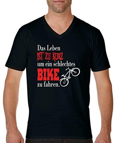 Comedy Shirts - Das Leben ist zu kurz um EIN schlechtes Bike zu Fahren - Herren V-Neck T-Shirt - Schwarz/Weiss-Rot Gr. S